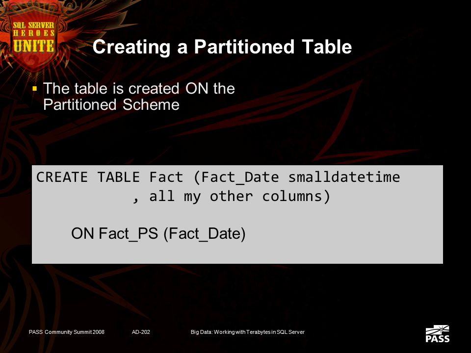 PASS Community Summit 2008AD-202Big Data: Working with Terabytes in SQL Server Partition Scheme  Defines where to store each range of data CREATE PAR