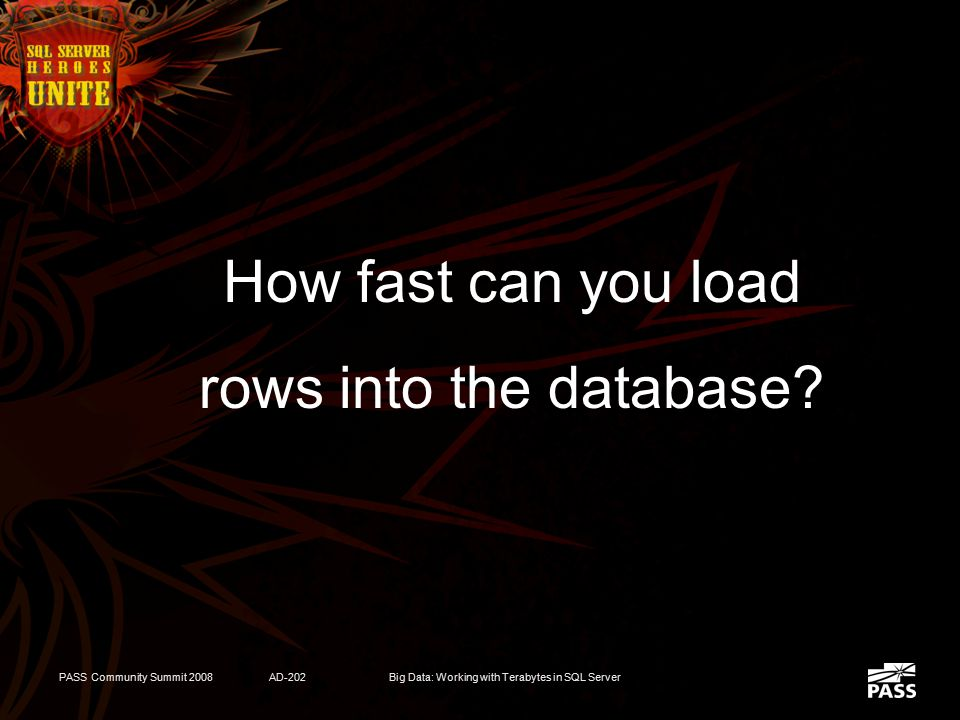 PASS Community Summit 2008AD-202Big Data: Working with Terabytes in SQL Server Challenges  Load Performance (ETL)  Query Performance  Data Manageme