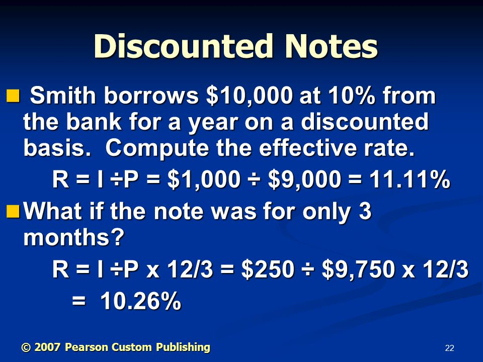 22 Smith borrows $10,000 at 10% from the bank for a year on a discounted basis.