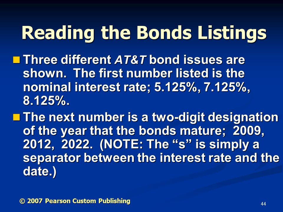 44 Three different AT&T bond issues are shown.