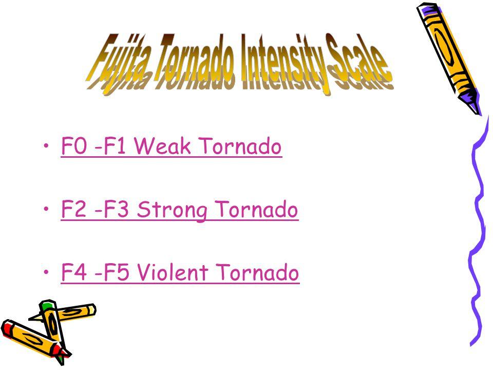 F0 -F1 Weak Tornado F2 -F3 Strong Tornado F4 -F5 Violent Tornado