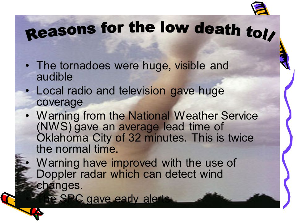 The tornadoes were huge, visible and audible Local radio and television gave huge coverage Warning from the National Weather Service (NWS) gave an average lead time of Oklahoma City of 32 minutes.