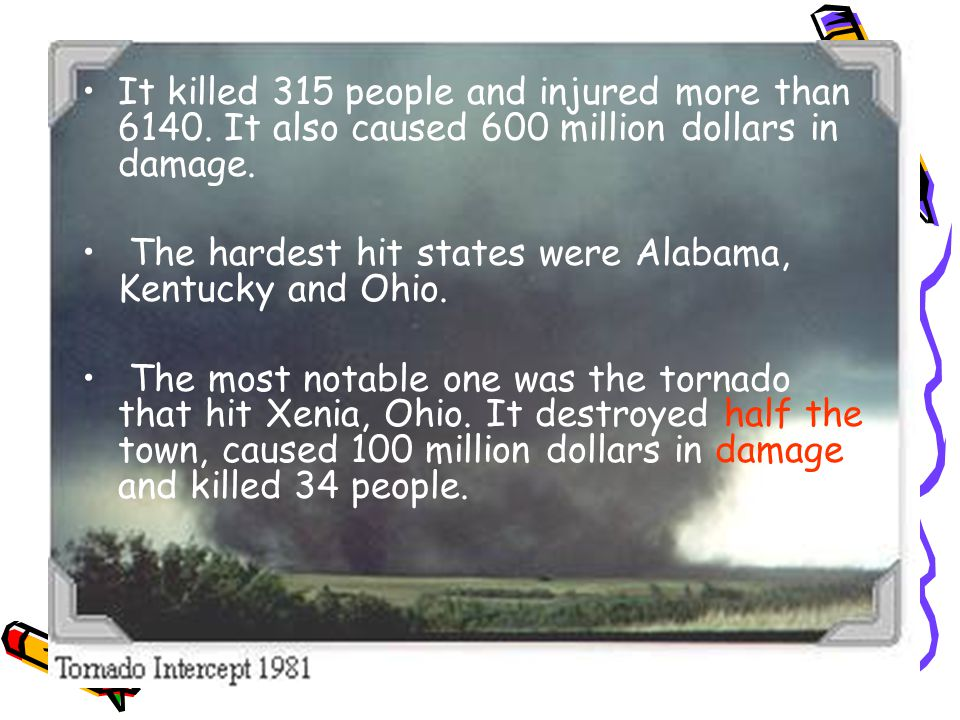 It killed 315 people and injured more than 6140. It also caused 600 million dollars in damage.