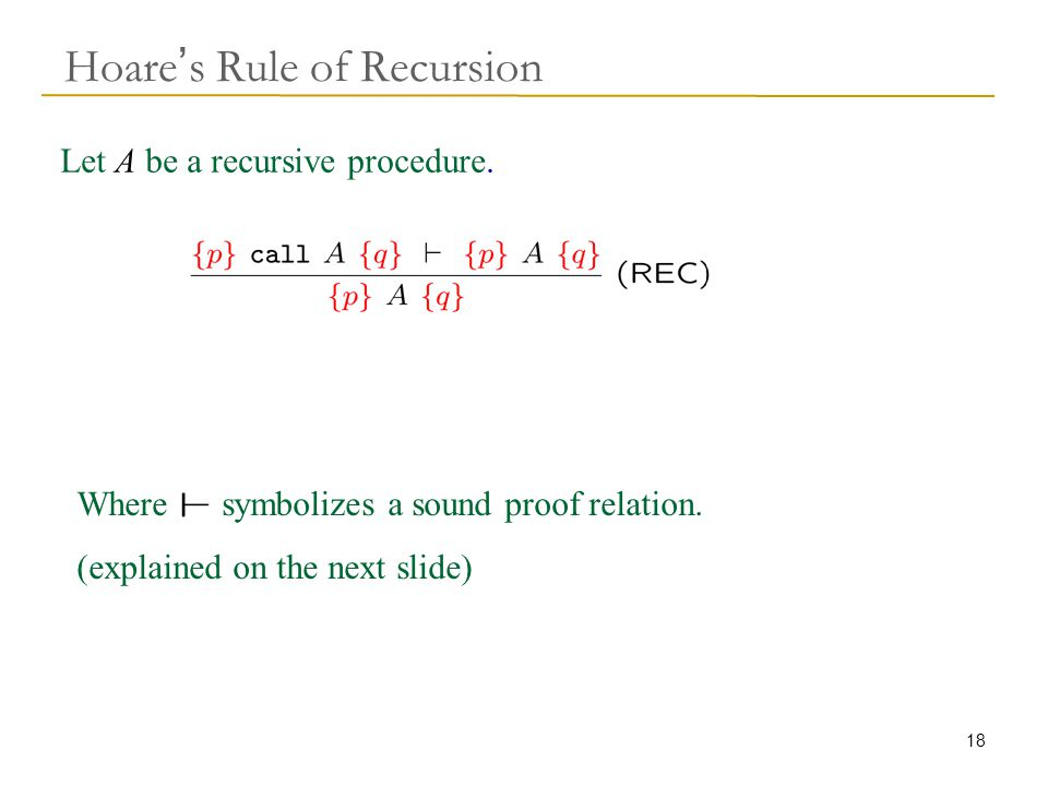 18 Hoare ' s Rule of Recursion Where symbolizes a sound proof relation.