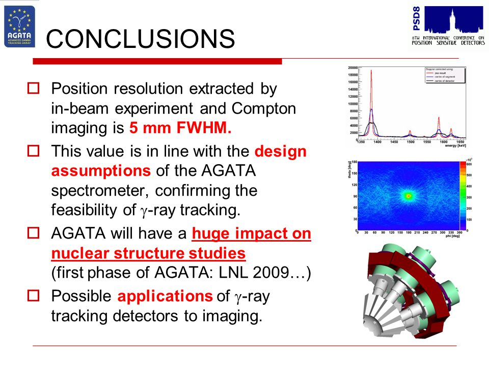 CONCLUSIONS  Position resolution extracted by in-beam experiment and Compton imaging is 5 mm FWHM.  This value is in line with the design assumption