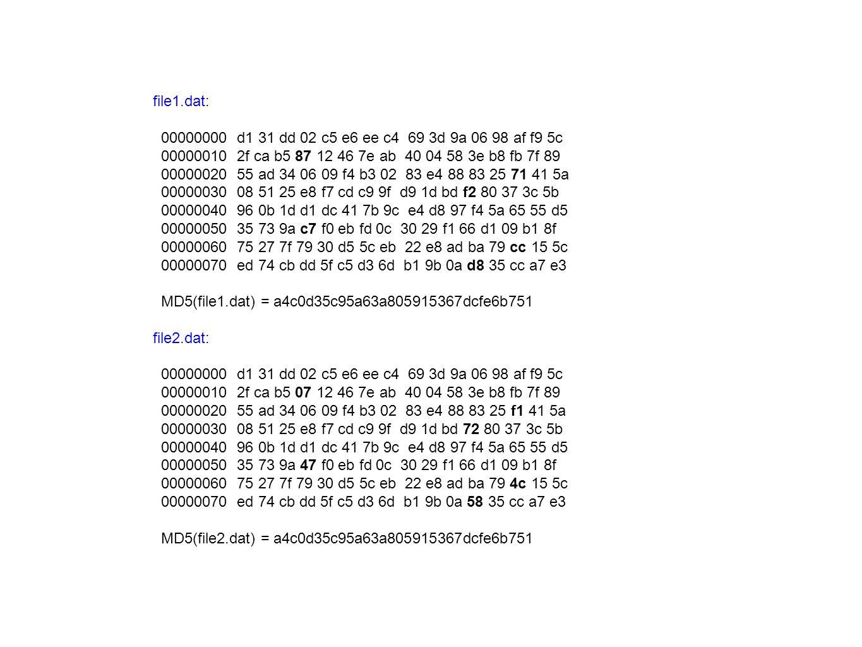 file1.dat: 00000000 d1 31 dd 02 c5 e6 ee c4 69 3d 9a 06 98 af f9 5c 00000010 2f ca b5 87 12 46 7e ab 40 04 58 3e b8 fb 7f 89 00000020 55 ad 34 06 09 f4 b3 02 83 e4 88 83 25 71 41 5a 00000030 08 51 25 e8 f7 cd c9 9f d9 1d bd f2 80 37 3c 5b 00000040 96 0b 1d d1 dc 41 7b 9c e4 d8 97 f4 5a 65 55 d5 00000050 35 73 9a c7 f0 eb fd 0c 30 29 f1 66 d1 09 b1 8f 00000060 75 27 7f 79 30 d5 5c eb 22 e8 ad ba 79 cc 15 5c 00000070 ed 74 cb dd 5f c5 d3 6d b1 9b 0a d8 35 cc a7 e3 MD5(file1.dat) = a4c0d35c95a63a805915367dcfe6b751 file2.dat: 00000000 d1 31 dd 02 c5 e6 ee c4 69 3d 9a 06 98 af f9 5c 00000010 2f ca b5 07 12 46 7e ab 40 04 58 3e b8 fb 7f 89 00000020 55 ad 34 06 09 f4 b3 02 83 e4 88 83 25 f1 41 5a 00000030 08 51 25 e8 f7 cd c9 9f d9 1d bd 72 80 37 3c 5b 00000040 96 0b 1d d1 dc 41 7b 9c e4 d8 97 f4 5a 65 55 d5 00000050 35 73 9a 47 f0 eb fd 0c 30 29 f1 66 d1 09 b1 8f 00000060 75 27 7f 79 30 d5 5c eb 22 e8 ad ba 79 4c 15 5c 00000070 ed 74 cb dd 5f c5 d3 6d b1 9b 0a 58 35 cc a7 e3 MD5(file2.dat) = a4c0d35c95a63a805915367dcfe6b751