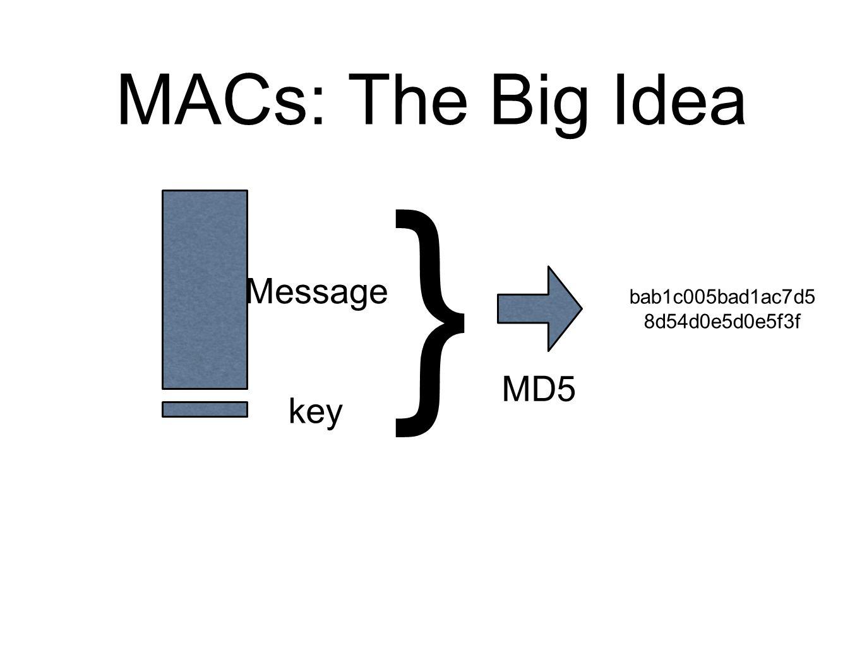 MACs: The Big Idea Message key } MD5 bab1c005bad1ac7d5 8d54d0e5d0e5f3f