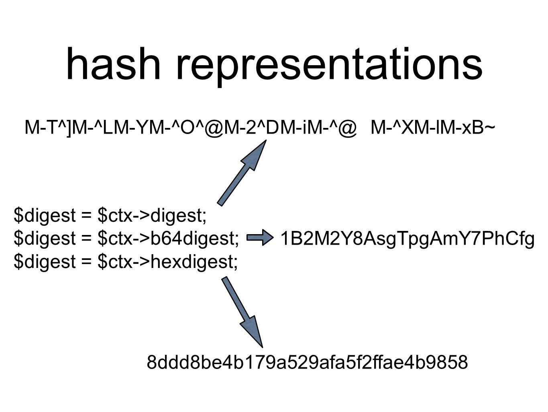 hash representations $digest = $ctx->digest; $digest = $ctx->b64digest; $digest = $ctx->hexdigest; 8ddd8be4b179a529afa5f2ffae4b9858 1B2M2Y8AsgTpgAmY7PhCfg M-T^]M-^LM-YM-^O^@M-2^DM-iM-^@ M-^XM-lM-xB~