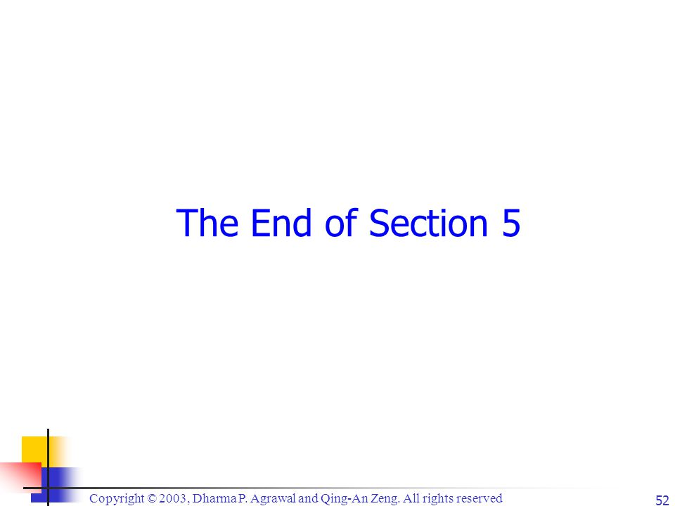Copyright © 2003, Dharma P. Agrawal and Qing-An Zeng. All rights reserved 52 The End of Section 5