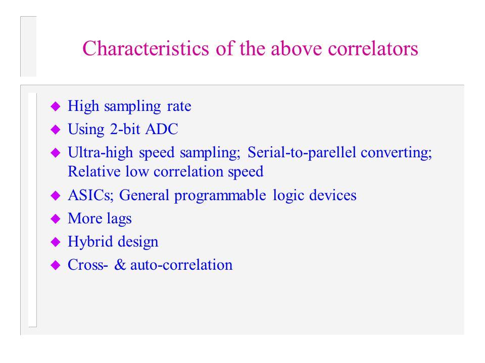 Characteristics of the above correlators u High sampling rate u Using 2-bit ADC u Ultra-high speed sampling; Serial-to-parellel converting; Relative l