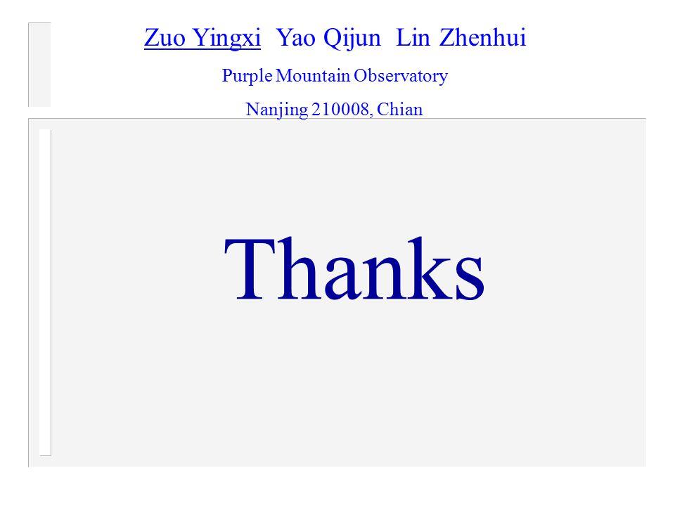 Thanks Zuo Yingxi Yao Qijun Lin Zhenhui Purple Mountain Observatory Nanjing 210008, Chian