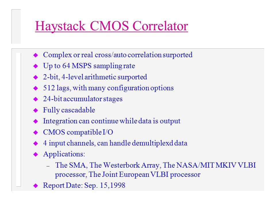 Haystack CMOS Correlator u Complex or real cross/auto correlation surported u Up to 64 MSPS sampling rate u 2-bit, 4-level arithmetic surported u 512