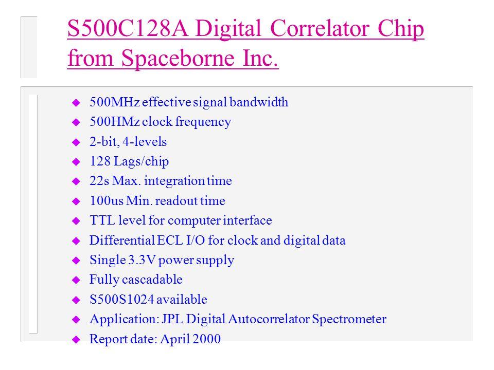 S500C128A Digital Correlator Chip from Spaceborne Inc. u 500MHz effective signal bandwidth u 500HMz clock frequency u 2-bit, 4-levels u 128 Lags/chip
