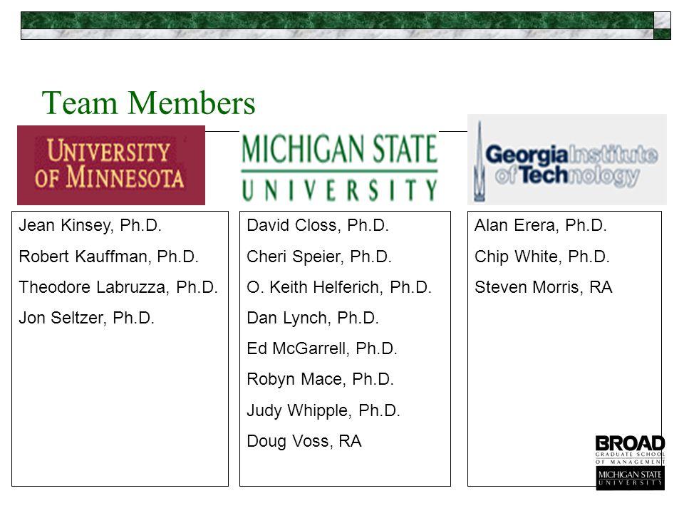 Team Members Jean Kinsey, Ph.D. Robert Kauffman, Ph.D.