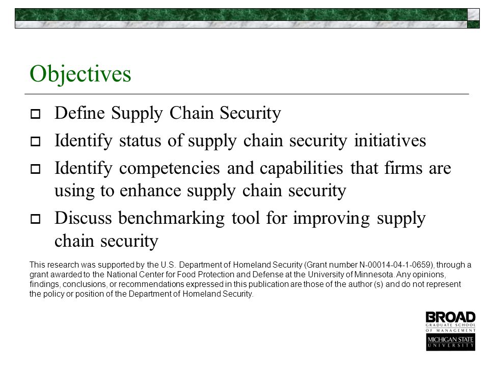 Definition of Supply Chain Protection and Security  The application of policies, procedures, and technology to protect supply chain assets (product, facilities, equipment, information, and personnel) from theft, damage, or terrorism and to prevent the introduction of unauthorized contraband, people, or weapons of mass destruction.