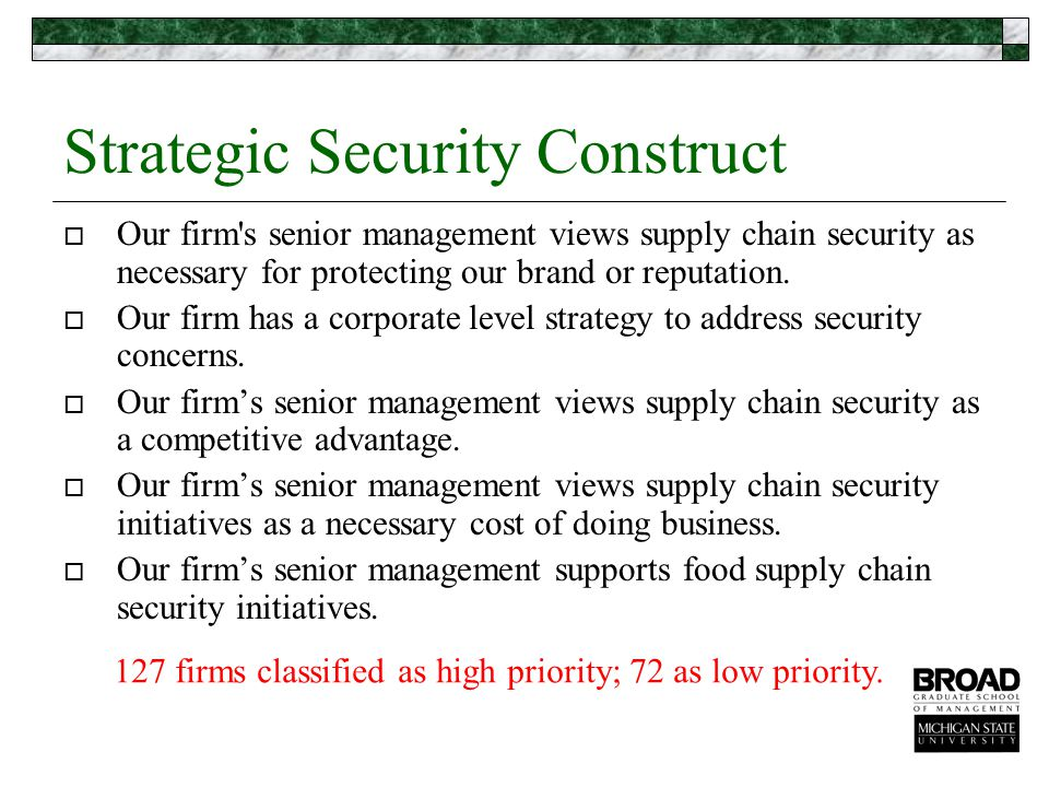 Strategic Security Construct  Our firm s senior management views supply chain security as necessary for protecting our brand or reputation.