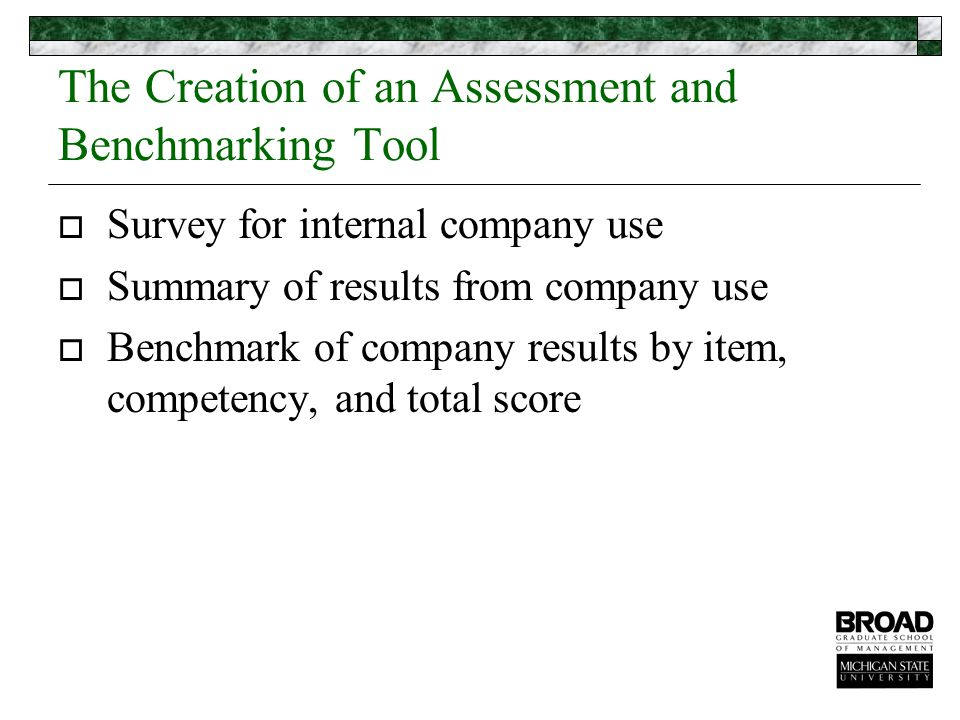The Creation of an Assessment and Benchmarking Tool  Survey for internal company use  Summary of results from company use  Benchmark of company results by item, competency, and total score