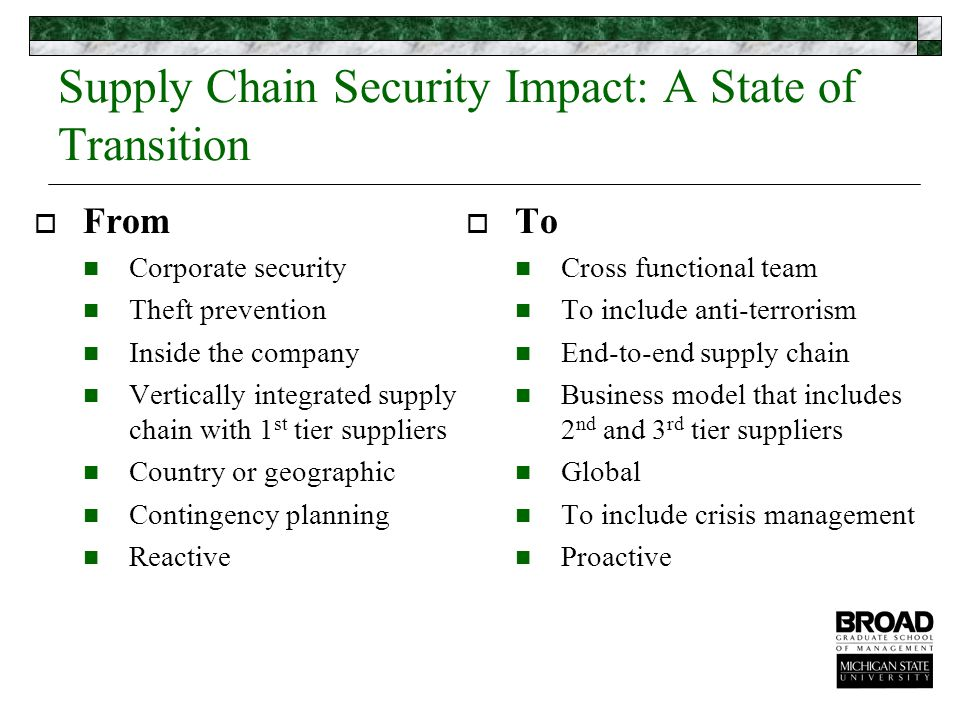 Security Expectations: A Changing Future  Secure supply chains – containing advanced security processes and procedures  Resilient supply chains – able to react to unexpected disruptions quickly in order to restore normal operations Rice and Caniato (2003), Building a Secure and Resilient Supply Network, Supply Chain Management Review, September/October.