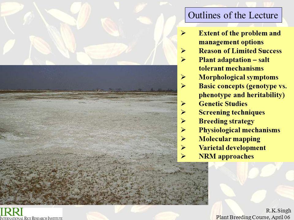 R.K.Singh Plant Breeding Course, April 06  Extent of the problem and management options  Reason of Limited Success  Plant adaptation – salt tolerant mechanisms  Morphological symptoms  Basic concepts (genotype vs.