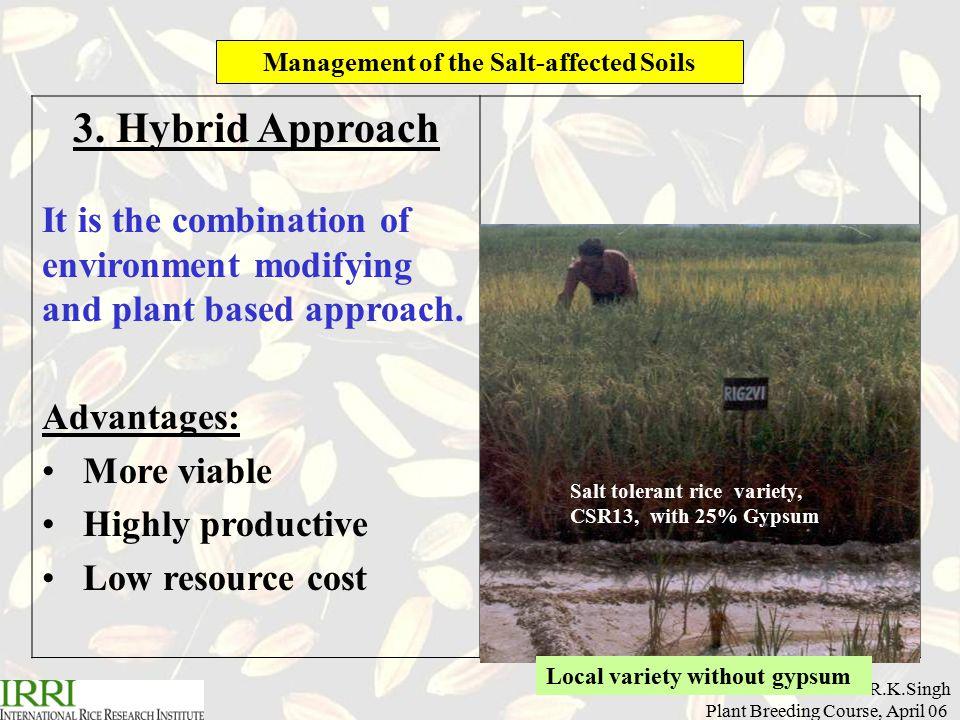 R.K.Singh Plant Breeding Course, April 06 Management of the Salt-affected Soils 3.