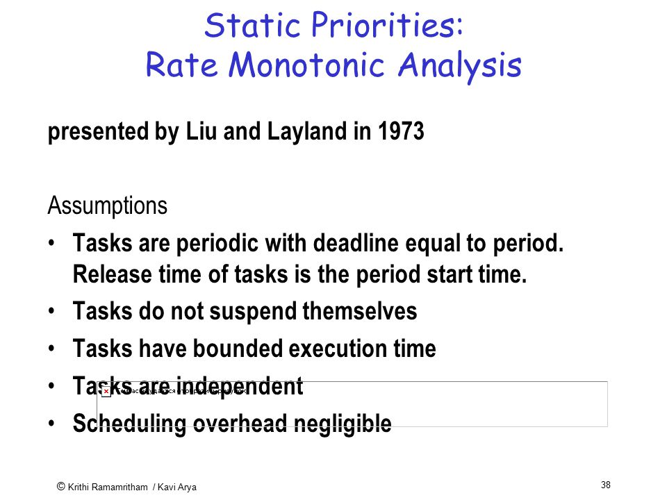© Krithi Ramamritham / Kavi Arya 38 Static Priorities: Rate Monotonic Analysis presented by Liu and Layland in 1973 Assumptions Tasks are periodic wit