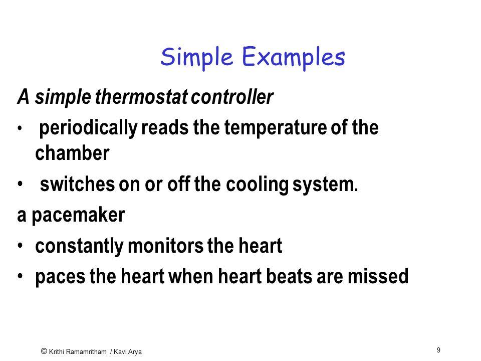© Krithi Ramamritham / Kavi Arya 30 A Typical Real time system Temperature sensor CPU Memory Input port Output port Heater