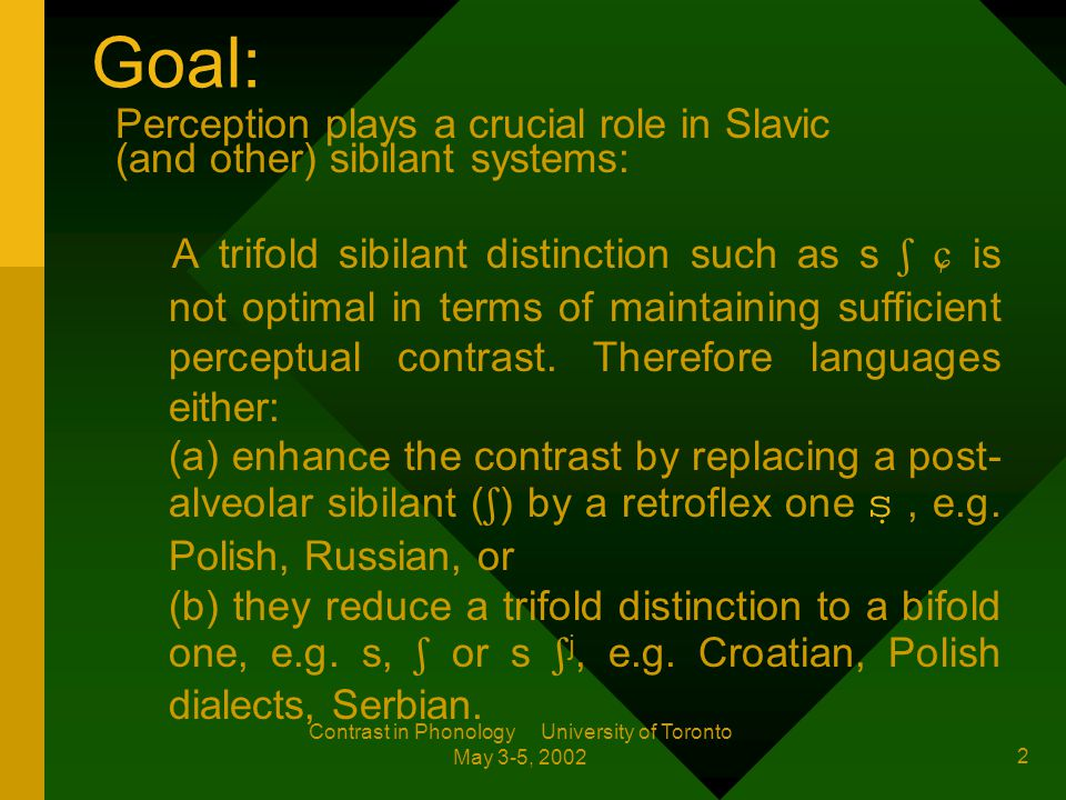 Contrast in Phonology University of Toronto May 3-5, 2002 The Role of Perception in Slavic Sibilant Systems Marzena Rochoń Zentrum für Allgemeine Sprachwissenschaft (ZAS), Berlin marzena@zas.gwz-berlin.de