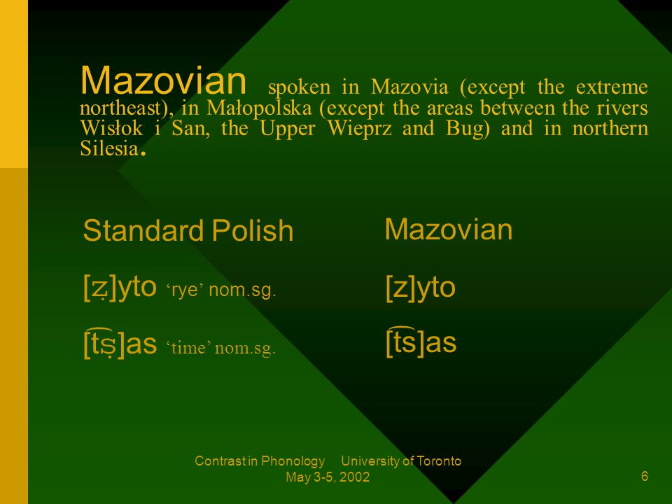 Contrast in Phonology University of Toronto May 3-5, 2002 5 1 2 3 3 1 Mazovian Dejna 1994: 71 2 Kashubian 3 Mazurian