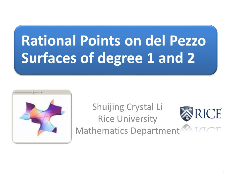 Shuijing Crystal Li Rice University Mathematics Department 1 Rational Points on del Pezzo Surfaces of degree 1 and 2