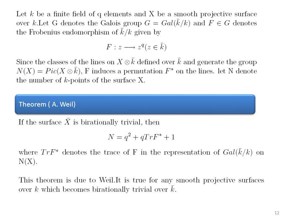 12 Theorem ( A. Weil)