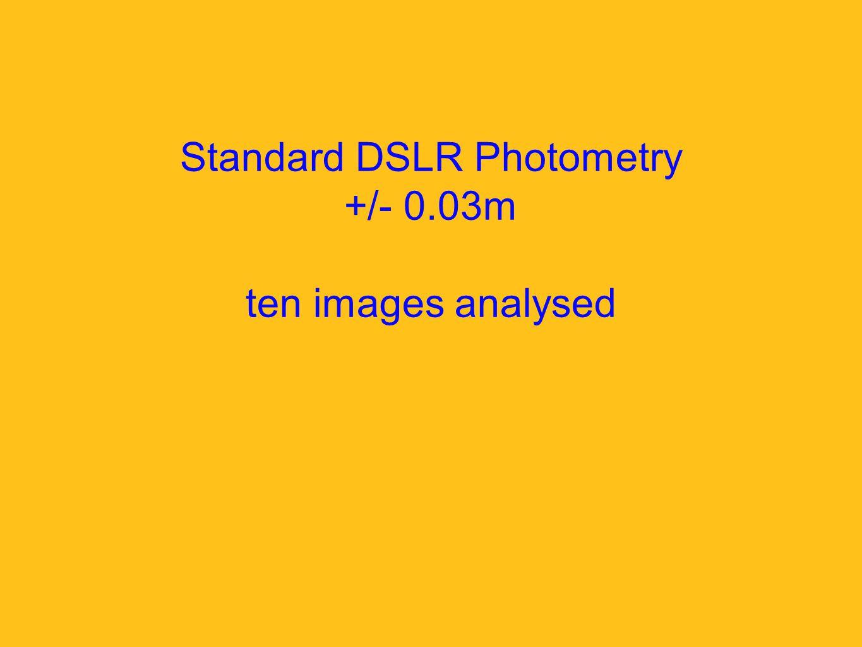 Standard DSLR Photometry +/- 0.03m ten images analysed