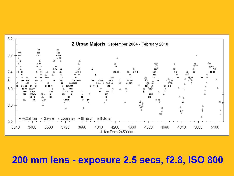 200 mm lens - exposure 2.5 secs, f2.8, ISO 800
