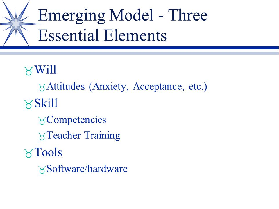 Emerging Model - Three Essential Elements _ Will _ Attitudes (Anxiety, Acceptance, etc.) _ Skill _ Competencies _ Teacher Training _ Tools _ Software/hardware