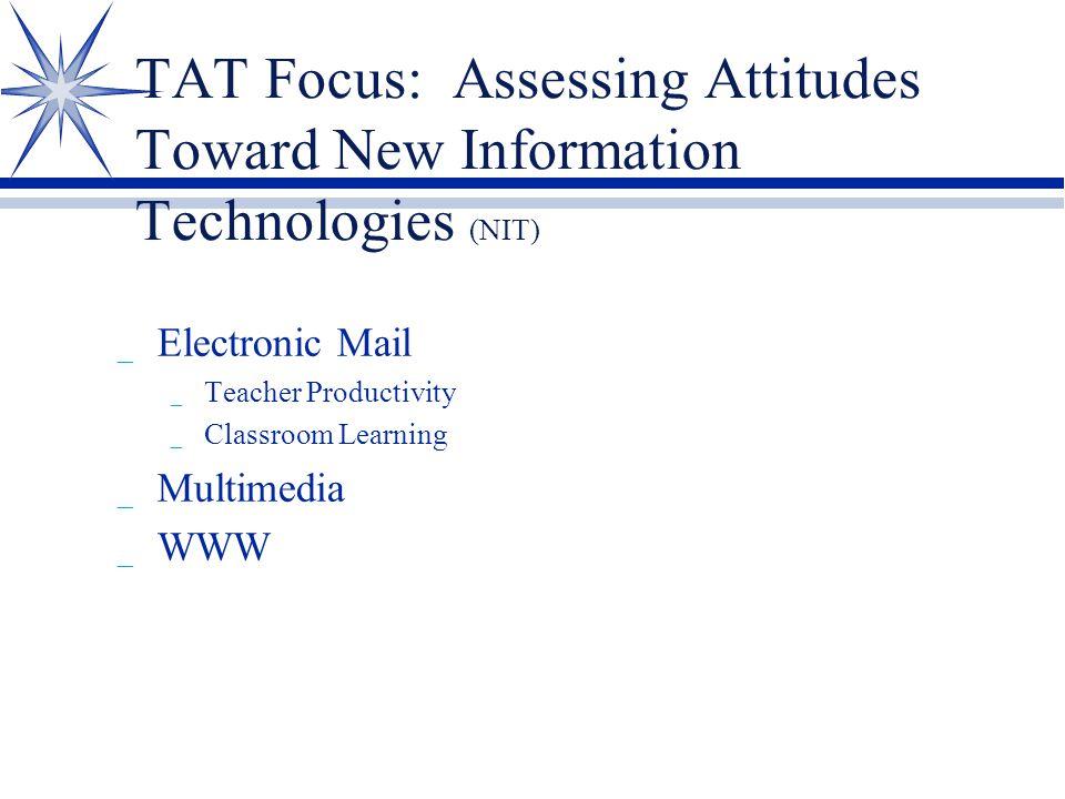 TAT Focus: Assessing Attitudes Toward New Information Technologies (NIT) _ Electronic Mail _ Teacher Productivity _ Classroom Learning _ Multimedia _