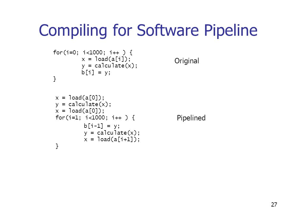 27 Compiling for Software Pipeline for(i=0; i<1000; i++ ) { x = load(a[i]); y = calculate(x); b[i] = y; } x = load(a[0]); y = calculate(x); x = load(a[0]); for(i=1; i<1000; i++ ) { b[i-1] = y; y = calculate(x); x = load(a[i+1]); } Original Pipelined