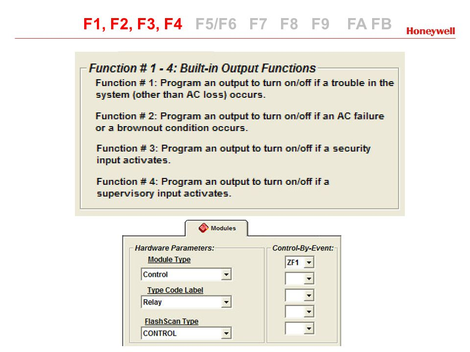 Special Functions NFS2-3030 F0, F1, F2, F3, F4, F5, F6, F7, F8, F9, F10, F11, F12, F13, F14, F15, F16 ZF0 - Pre-Signal Delay + PAS ZF1 - Trouble except AC Fail ZF2 - AC Fail ZF3 - Security ZF4 - Supervisory ZF7 - Holiday List ZF9 - Pre-Alarm Operates the same as NFS2-640