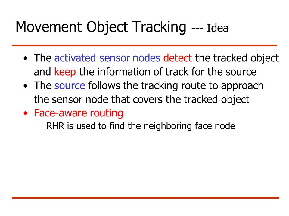 Movement Object Tracking --- Idea The activated sensor nodes detect the tracked object and keep the information of track for the source The source fol