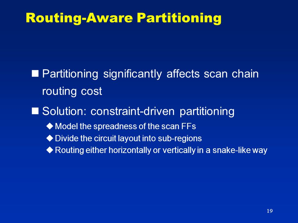 19 Routing-Aware Partitioning Partitioning significantly affects scan chain routing cost Solution: constraint-driven partitioning  Model the spreadne