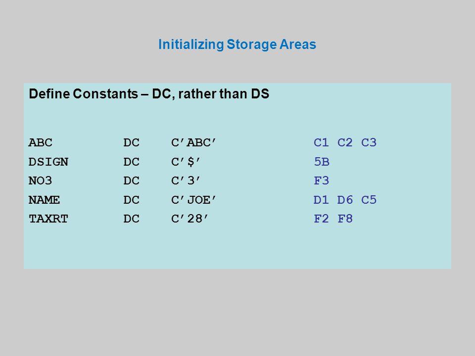 Initializing Storage Areas Define Constants – DC, rather than DS ABCDCC'ABC'C1 C2 C3 DSIGNDCC'$'5B NO3DCC'3'F3 NAMEDCC'JOE'D1 D6 C5 TAXRTDCC'28'F2 F8