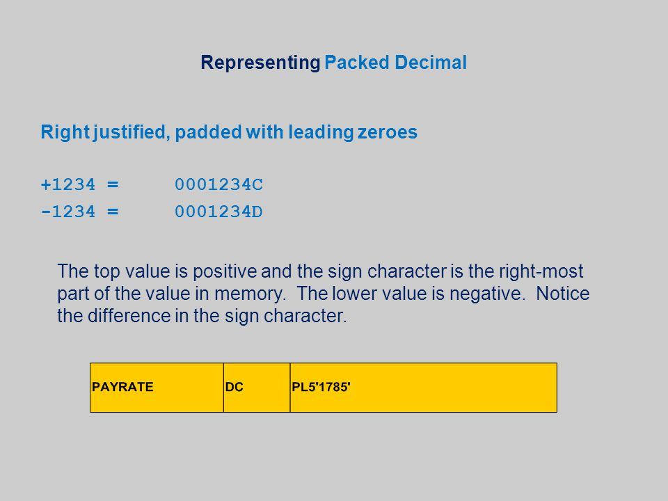 Representing Packed Decimal Right justified, padded with leading zeroes +1234=0001234C -1234=0001234D The top value is positive and the sign character is the right-most part of the value in memory.