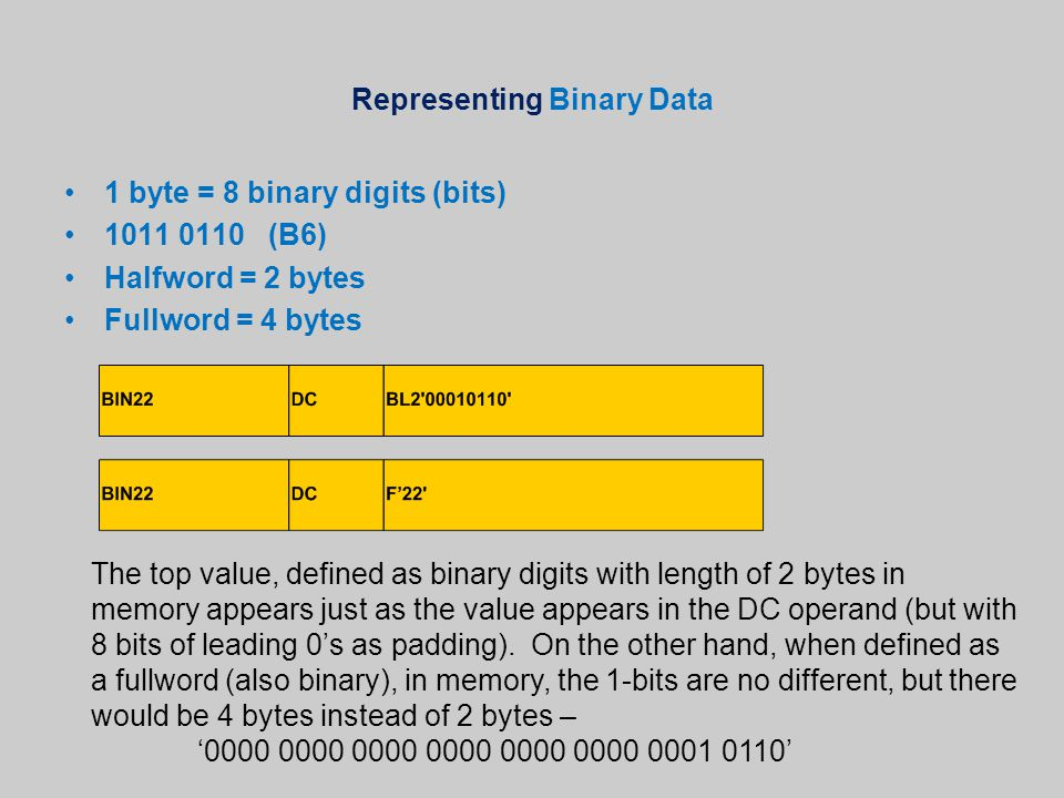 Representing Binary Data 1 byte = 8 binary digits (bits) 1011 0110 (B6) Halfword = 2 bytes Fullword = 4 bytes The top value, defined as binary digits with length of 2 bytes in memory appears just as the value appears in the DC operand (but with 8 bits of leading 0's as padding).