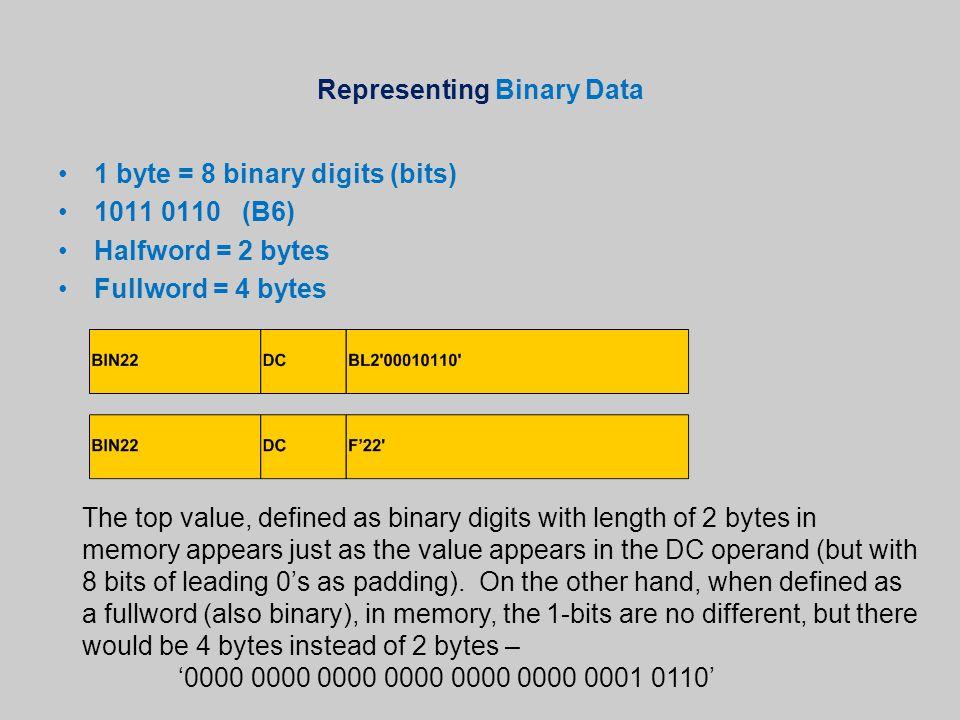 Representing Binary Data 1 byte = 8 binary digits (bits) 1011 0110 (B6) Halfword = 2 bytes Fullword = 4 bytes The top value, defined as binary digits