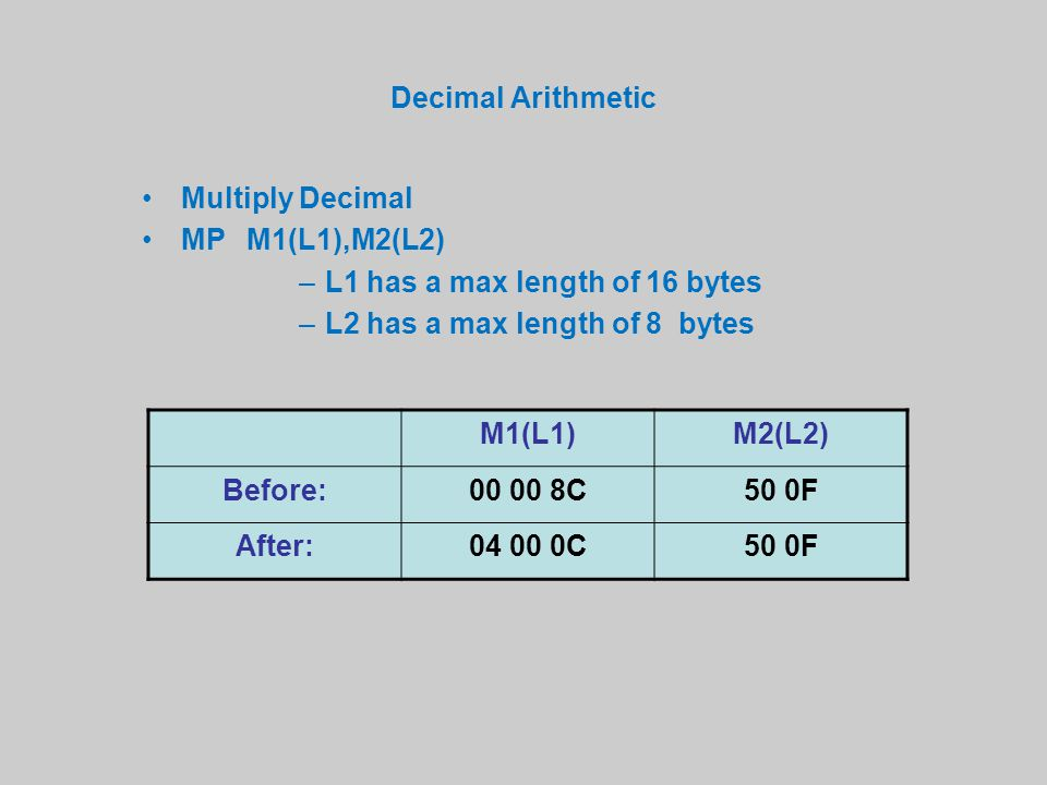 Decimal Arithmetic Multiply Decimal MPM1(L1),M2(L2) –L1 has a max length of 16 bytes –L2 has a max length of 8 bytes M1(L1)M2(L2) Before:00 00 8C50 0F After:04 00 0C50 0F