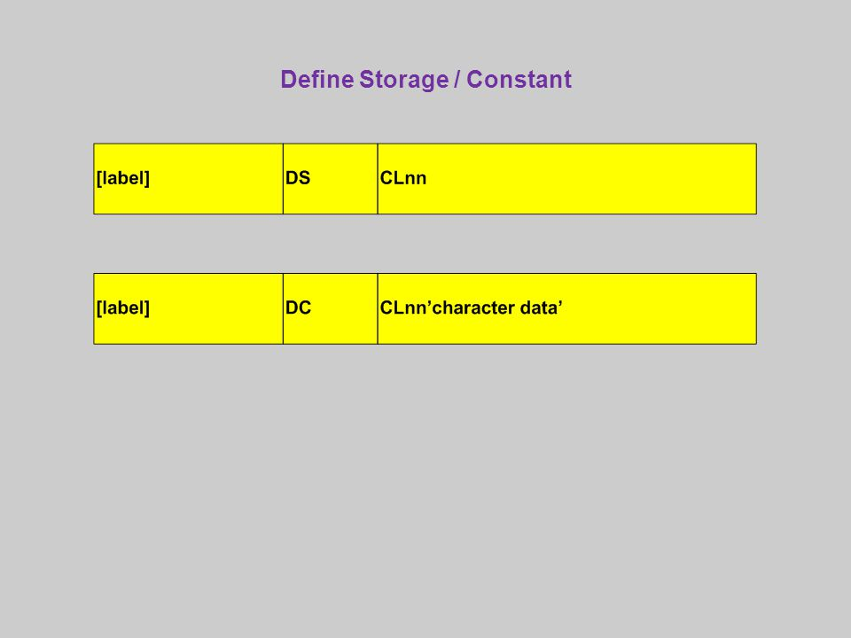 Define Storage / Constant
