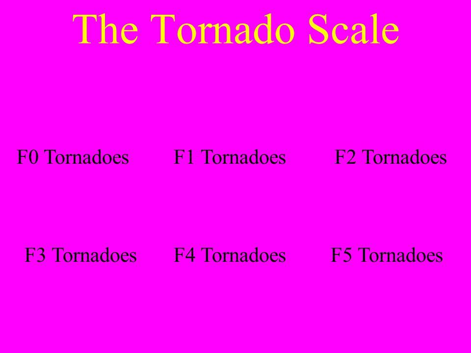 The Tornado Scale F0 TornadoesF1 TornadoesF2 Tornadoes F3 TornadoesF4 TornadoesF5 Tornadoes