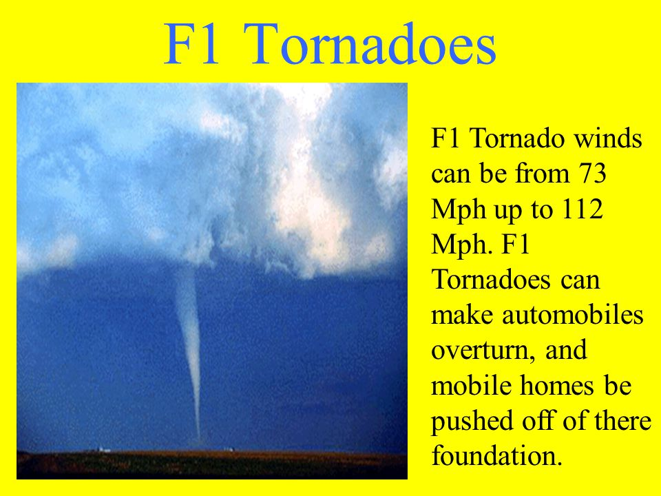 F1 Tornadoes F1 Tornado winds can be from 73 Mph up to 112 Mph.