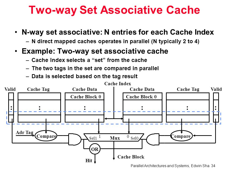 Parallel Architectures and Systems, Edwin Sha 34 Two-way Set Associative Cache N-way set associative: N entries for each Cache Index –N direct mapped caches operates in parallel (N typically 2 to 4) Example: Two-way set associative cache –Cache Index selects a set from the cache –The two tags in the set are compared in parallel –Data is selected based on the tag result Cache Data Cache Block 0 Cache TagValid ::: Cache Data Cache Block 0 Cache TagValid ::: Cache Index Mux 01 Sel1Sel0 Cache Block Compare Adr Tag Compare OR Hit