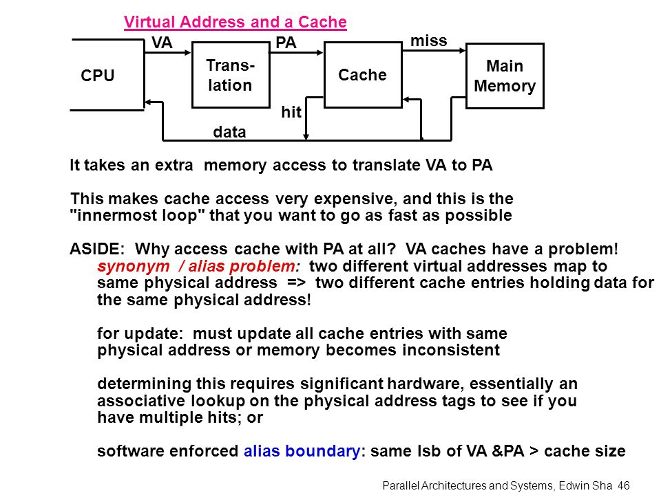 Parallel Architectures and Systems, Edwin Sha 46 Virtual Address and a Cache CPU Trans- lation Cache Main Memory VAPA miss hit data It takes an extra memory access to translate VA to PA This makes cache access very expensive, and this is the innermost loop that you want to go as fast as possible ASIDE: Why access cache with PA at all.