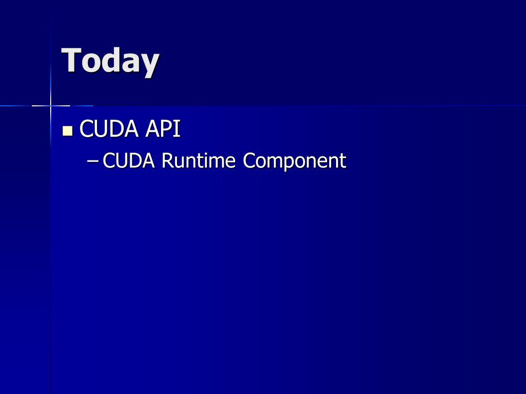 Today CUDA API CUDA API –CUDA Runtime Component