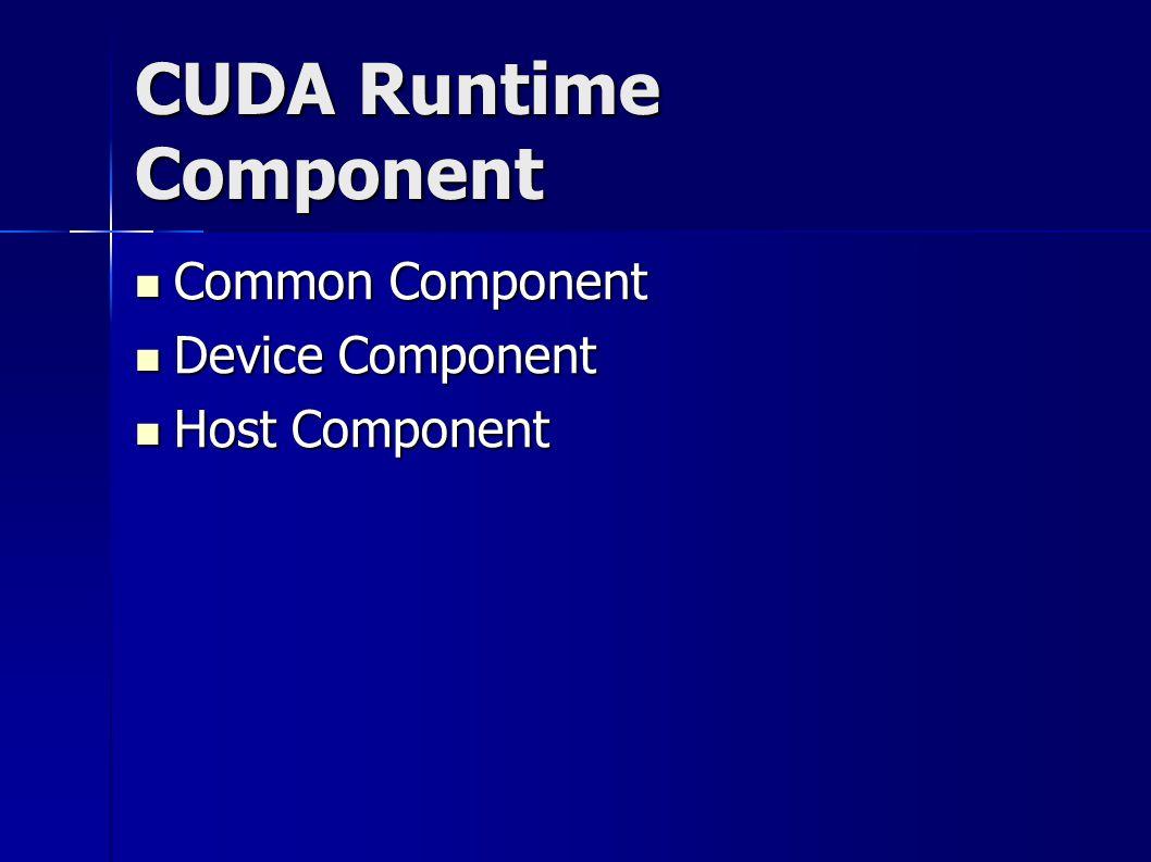 CUDA Runtime Component Common Component Common Component Device Component Device Component Host Component Host Component